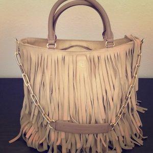 Carolina Herrera leather fringe satchel